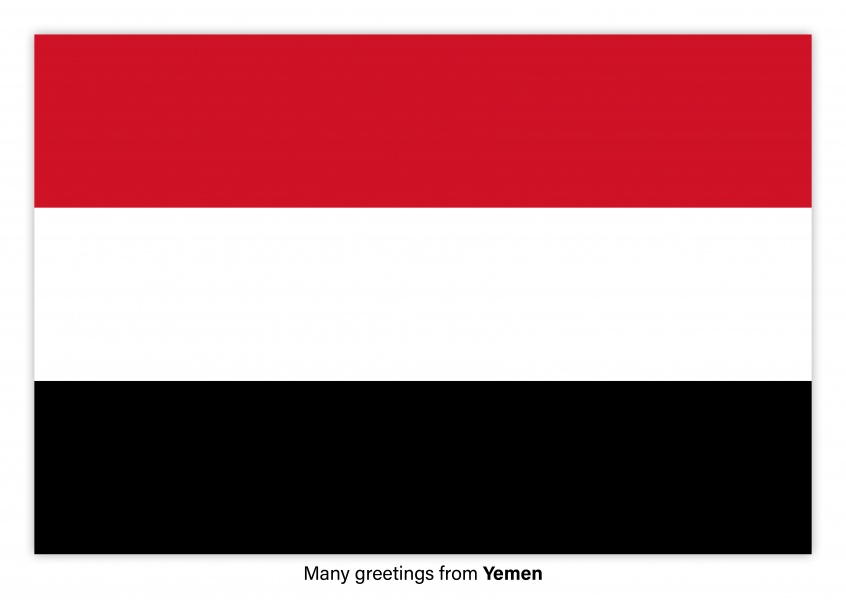 Postcard with flag of Yemen