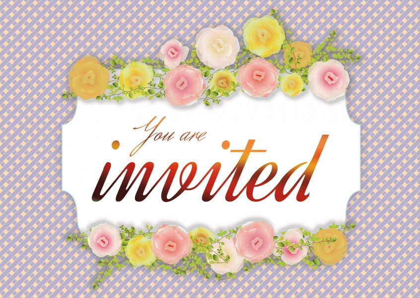 Invitationcard with spring flowers