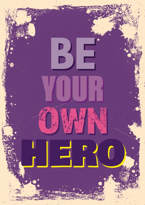 Vintage Quote postcard: Be your own hero