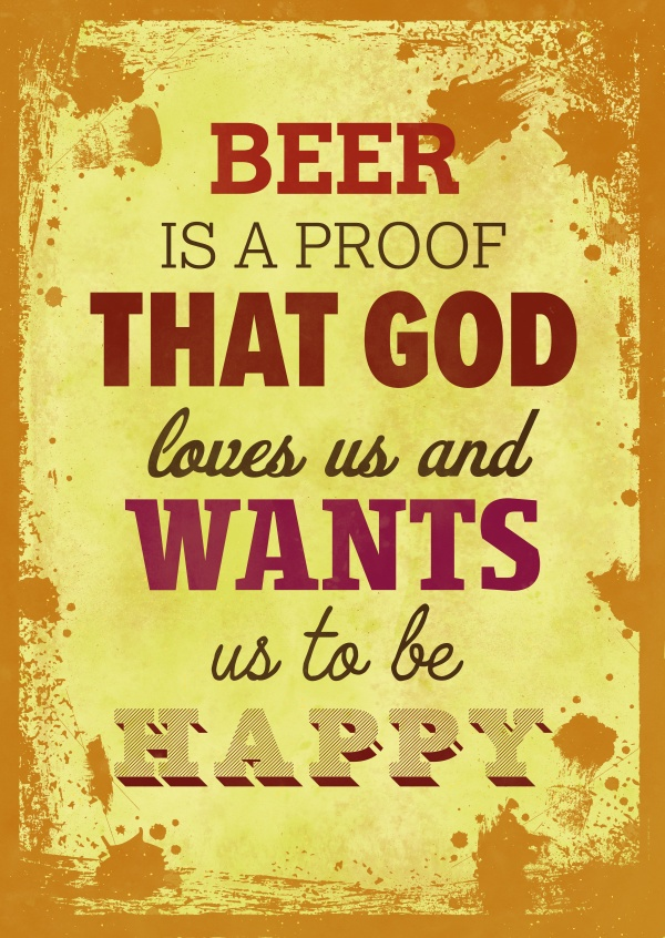 Vintage Spruch Postkarte: Beer is a proof that god loves us and wants us to be happy
