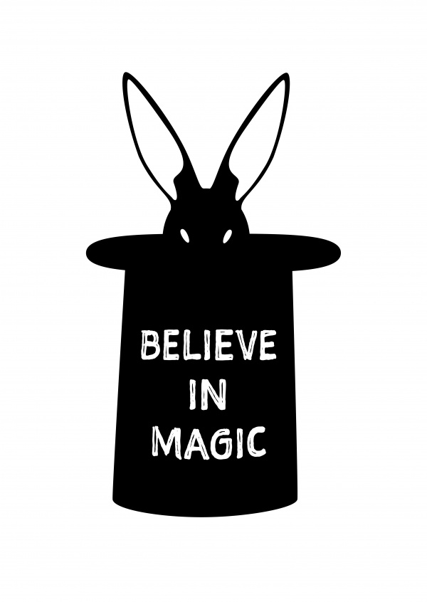 Quote magic rabbit in a wizard hat