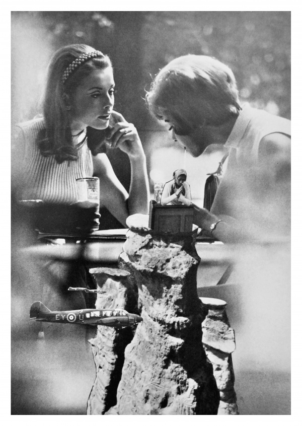 Belrost surrealistic black and white collage two girls having coffee