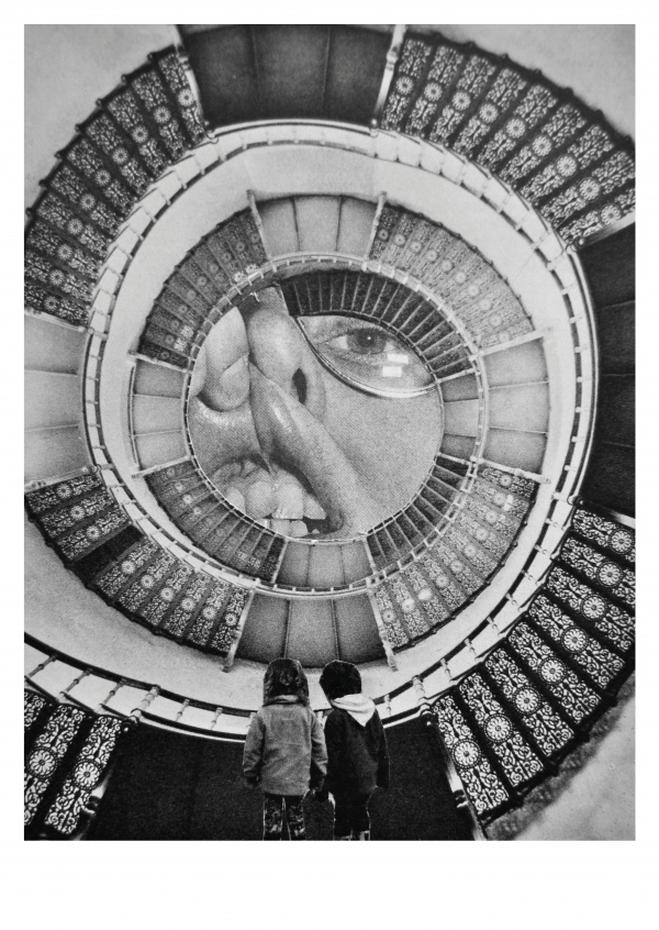 Belrost surrealistic collage kids in the staircase