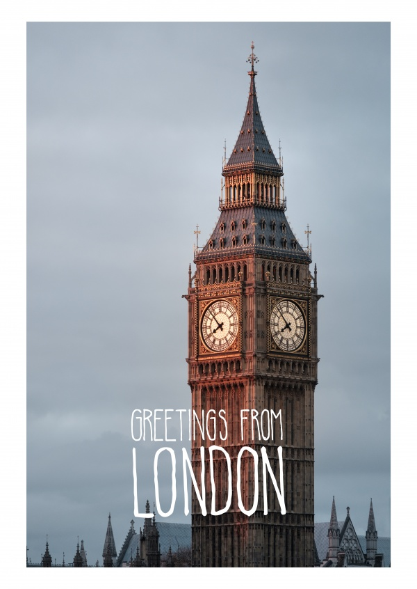 greetingcard with a photo of bigben