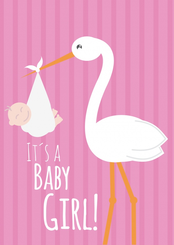 White It's a baby girl -Lettering with a stork and baby on pink background