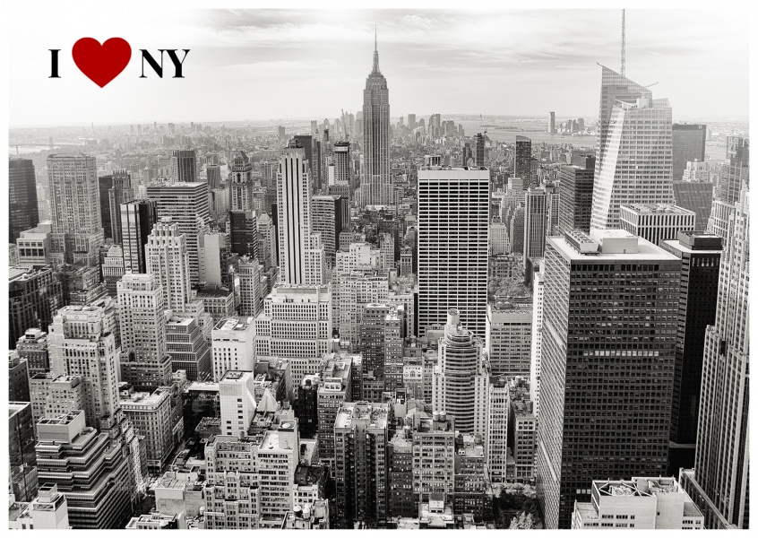 postcard i love new york with black and white photo of the new york skyline