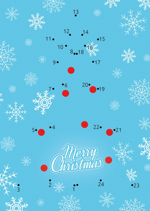 Connect the dots painting DIY Christmas greeting card