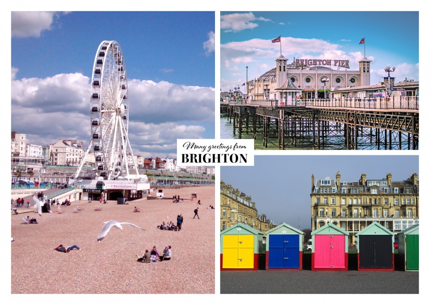 Dreier collage mit fotos aus Brighton