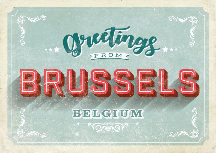 Greetings from bruxelles Retro lettering postcard