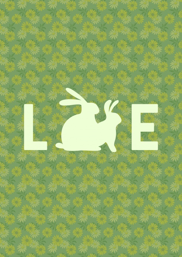 Word love with silouhette of bunnies having sex