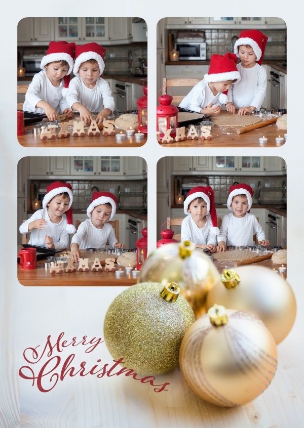 Festive template for four photos with golden Christmas balls