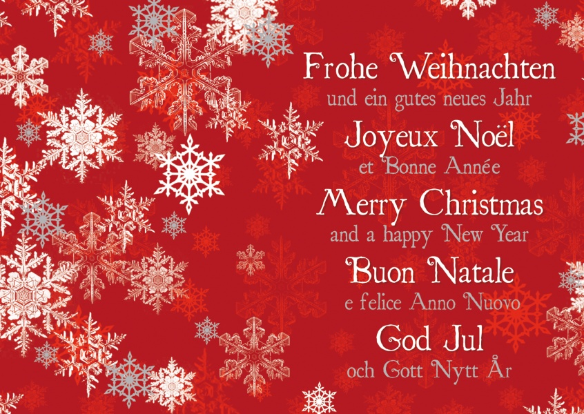 international christmas greetings different languages red white