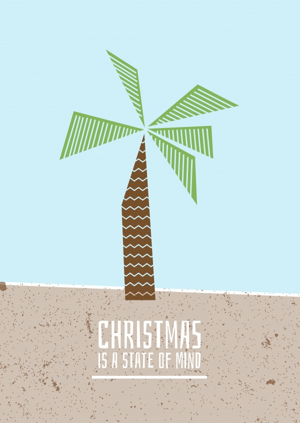 Palm tree on a beach, Christmas is a State of Mind