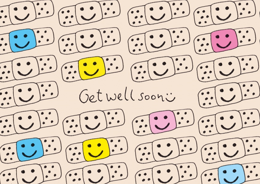 cute patches get well soon postcard motive