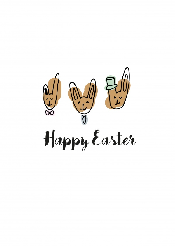 happy easter doodle bunnies with accessories