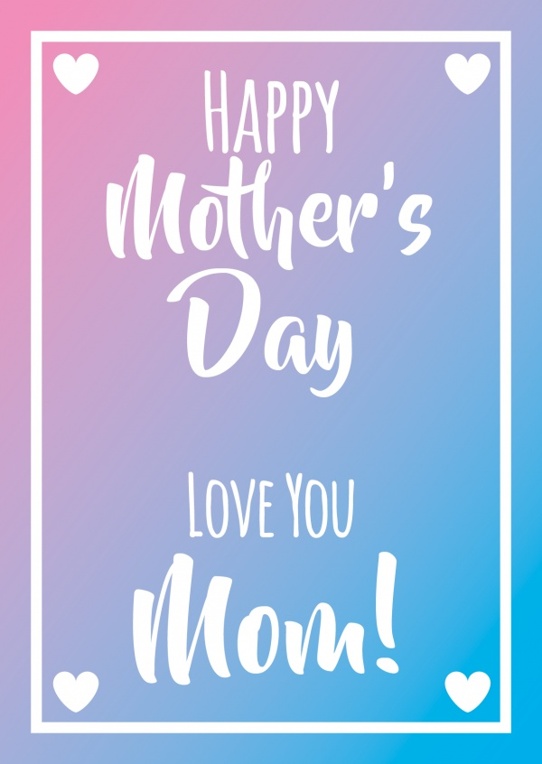 Happy mother's day with white hearts and blurry background–mypostcard