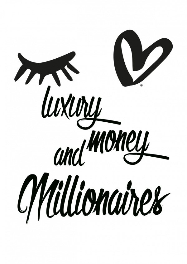 Eye-love luxury, money and millionaires black and white