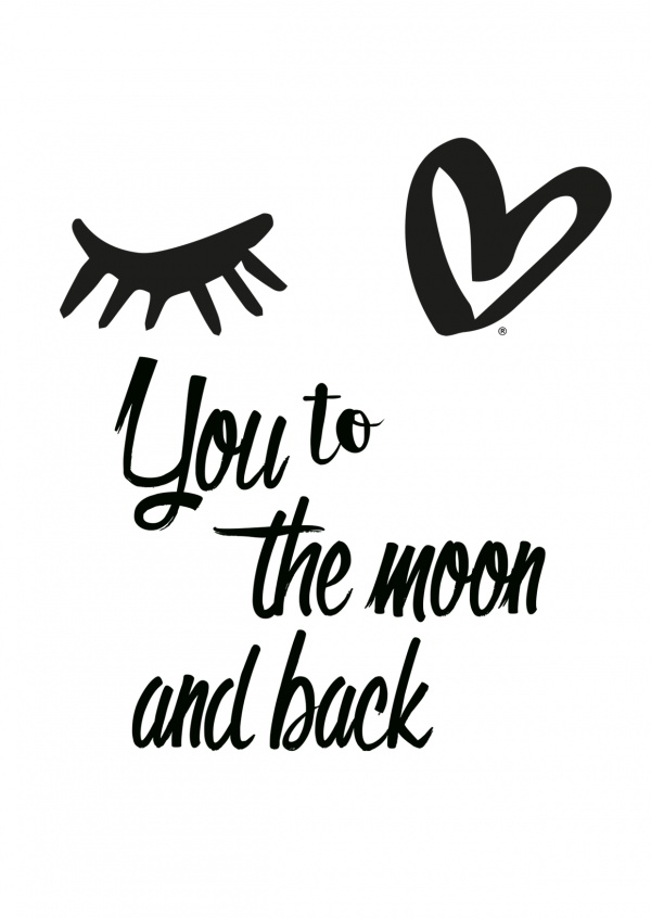 Eye-love you to the moon and back black and white