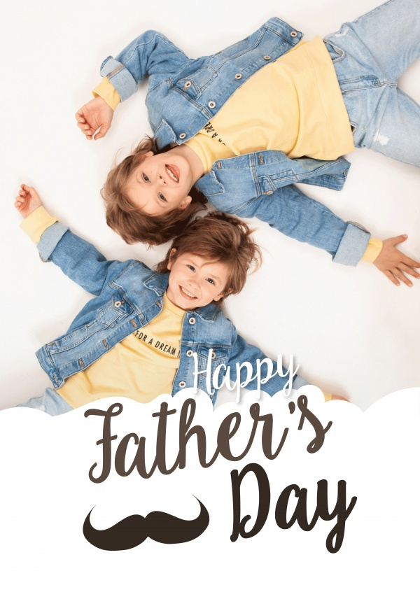 Happy Father's Day greetings with moustache und retro lettering in brown and white