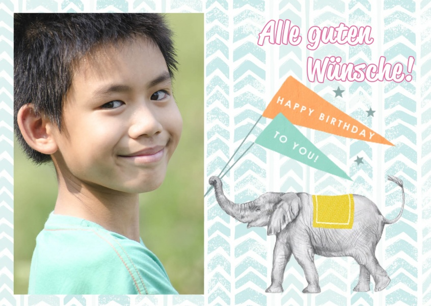 Happy Birthday: illustration mit kleinem Elefanten