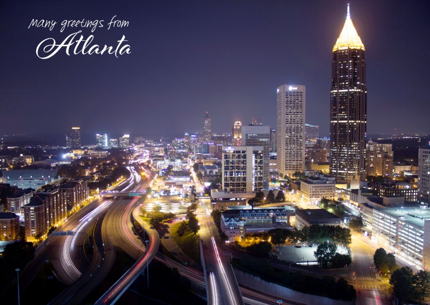 Atlanta's downtown with traffic while sunset
