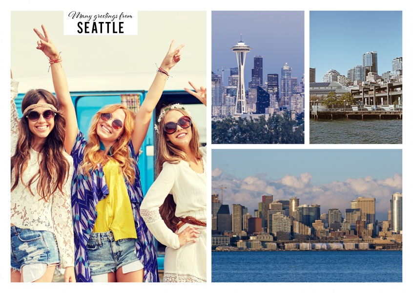 greetingcard with big-city life of Seattle and lighthouse at the beach
