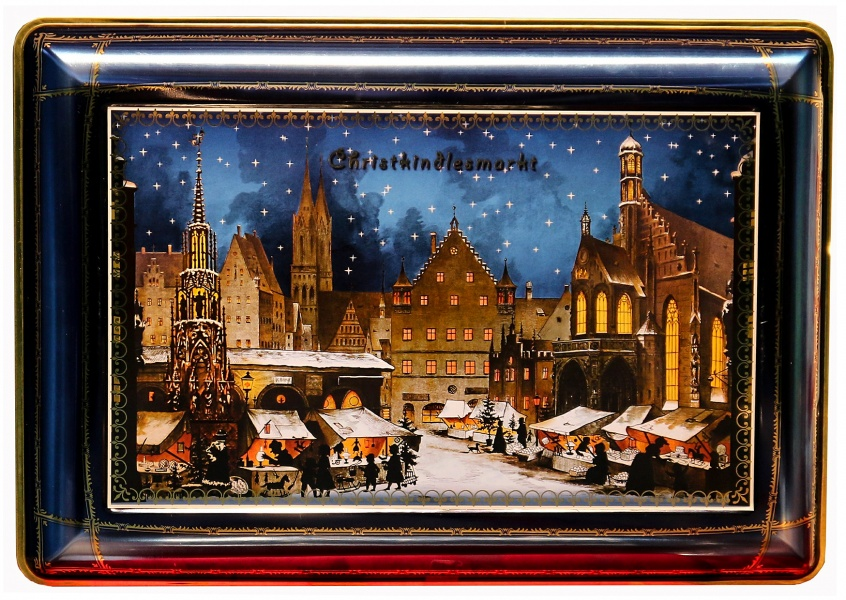 vintage illustration of Nurnberg's Christmas maket painted on an old cookie box