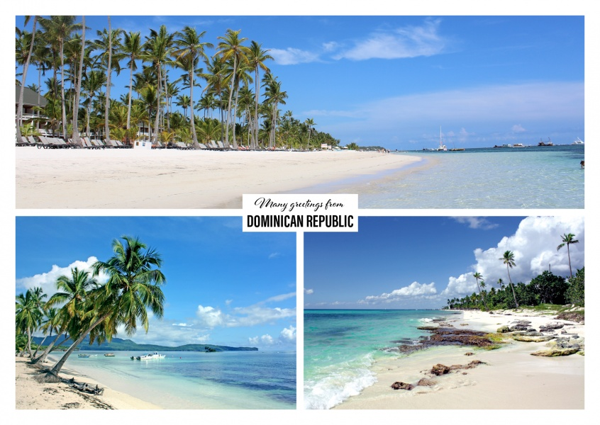 Dominican republic with beaches, palms and clean water