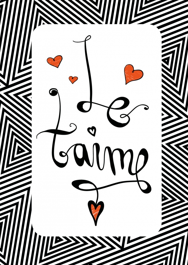 graphics in black and white of the french statement je taime