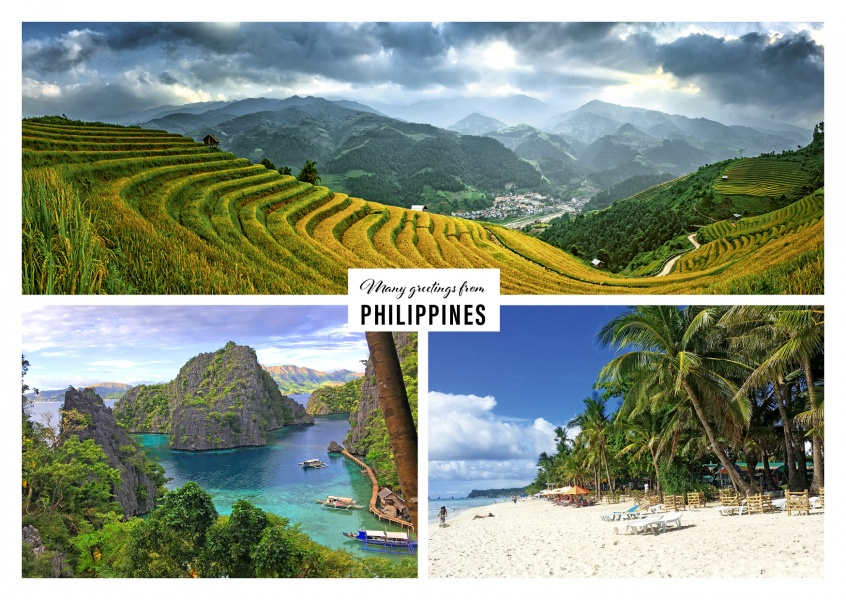 mountains and beach landscape of the Philippines in three pictures