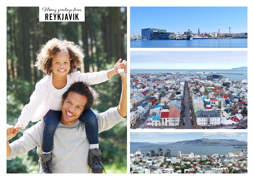 three photos of Reykjavik and a city view