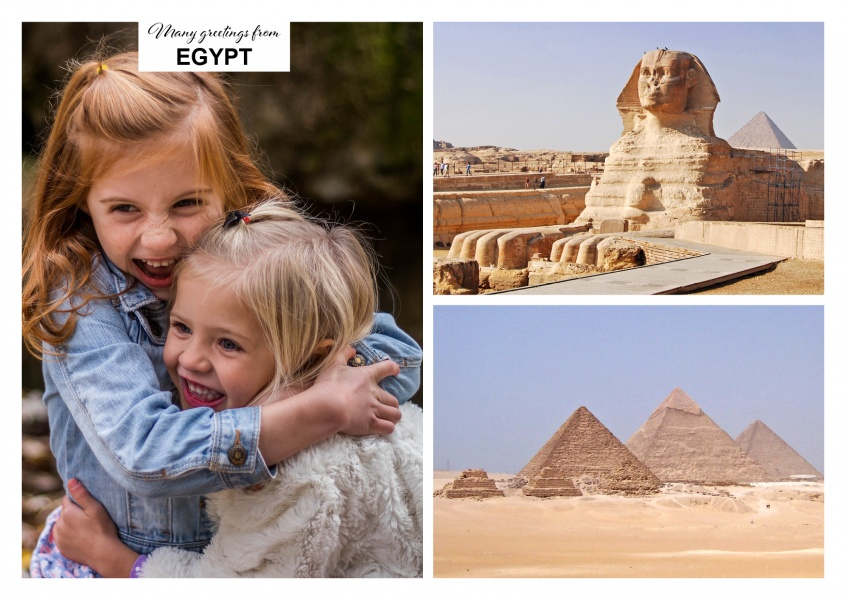 two photos with pyramids and sphinx of Gizeh
