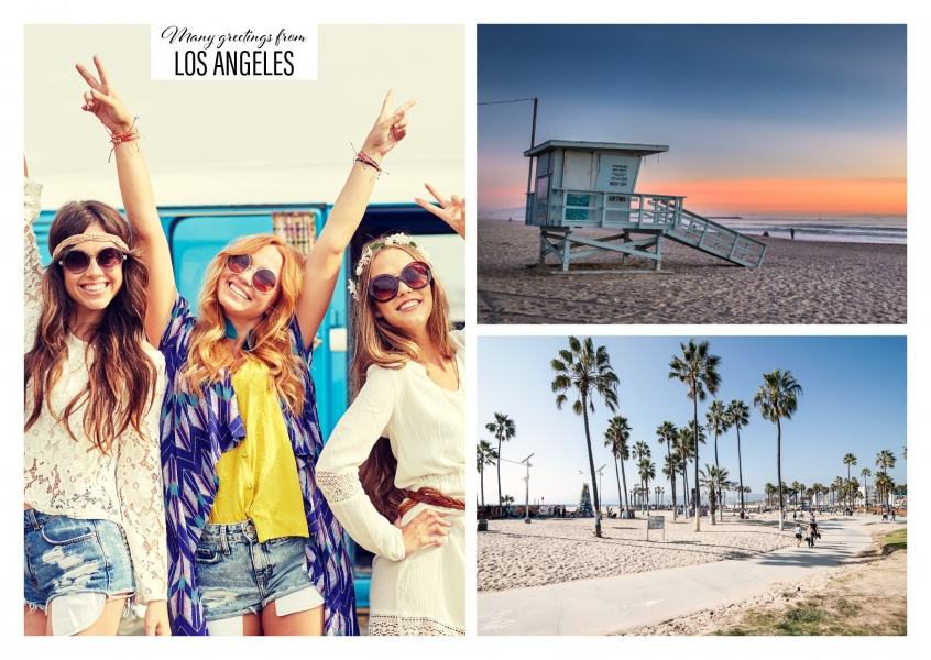 two photos of the Los Angeles beach day and night