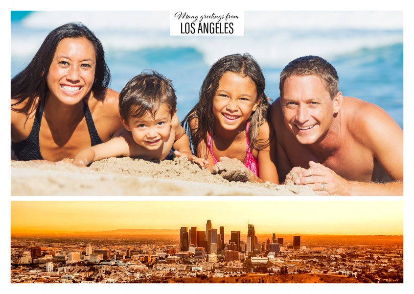 Collage with panorama photo of L.A.