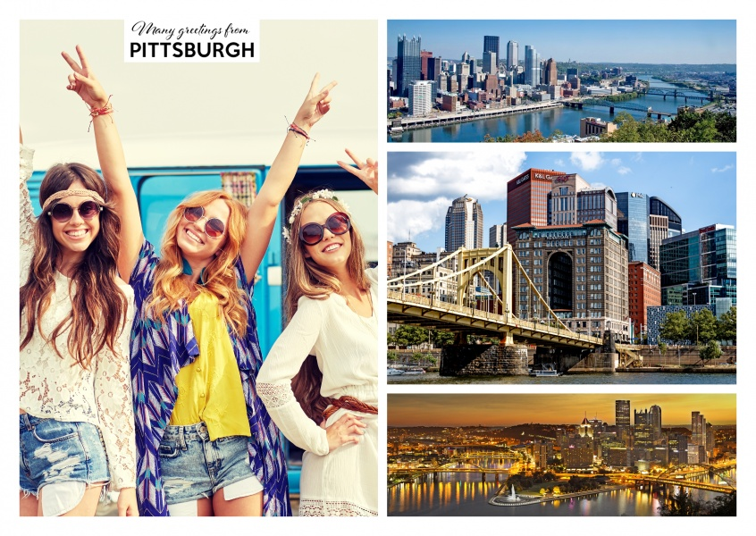three photos of the skyline of Pittsburgh