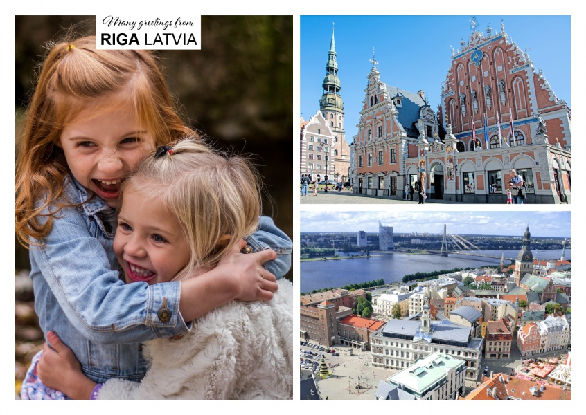 two photos of the downtown of Riga and St Peters Church
