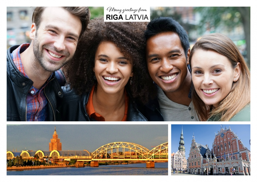 two photos of the old town of Riga