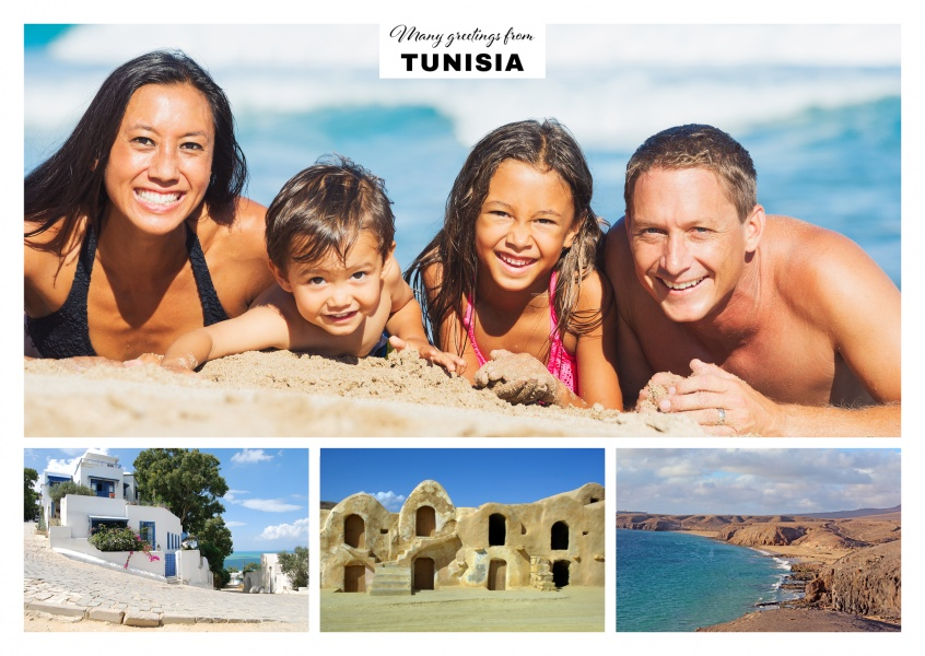 three photos of the cities and deserts of Tunisia