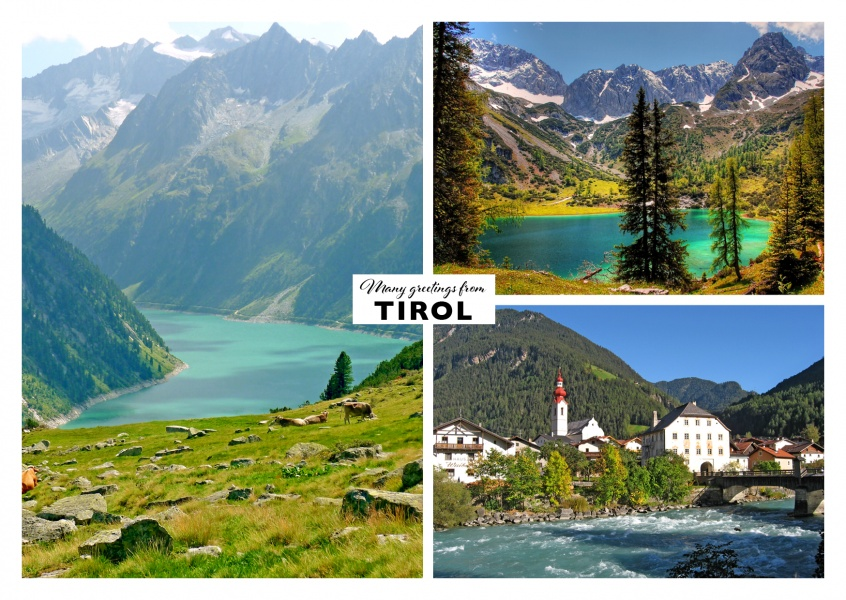 Tirol and mountain landscape in three variations