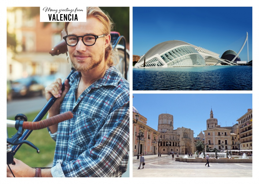 Double collage of Valencia - Saint Mary's square and modern architecture