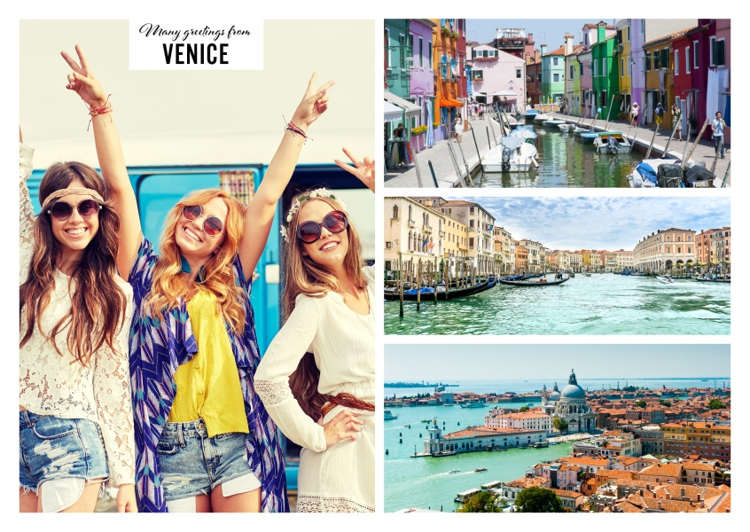 Three photos of Venice with view on canal landscape and gondolas