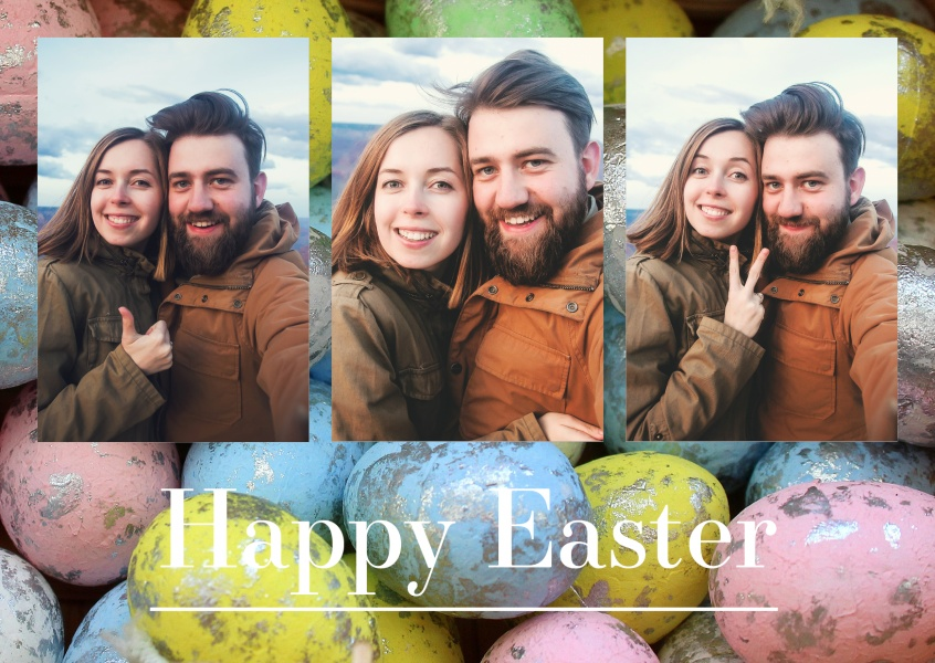 Foto various coloured easter eggs