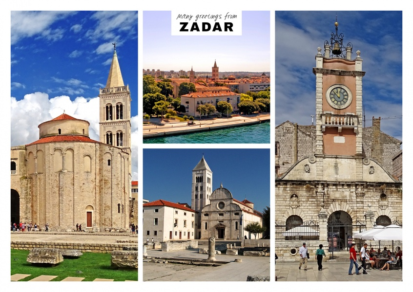 Zadar's architecture with churches, water wells and old town