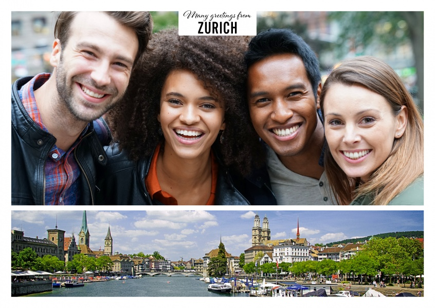 Zurich old town in panoramic view with Limmat river and Zurich lake
