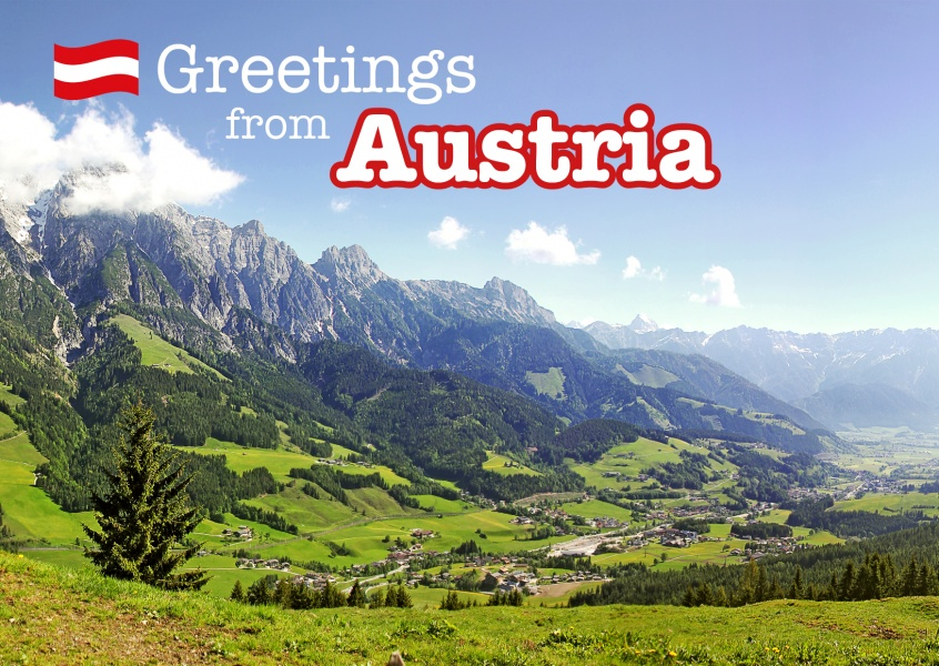 Postcard with photo of mountain in austria