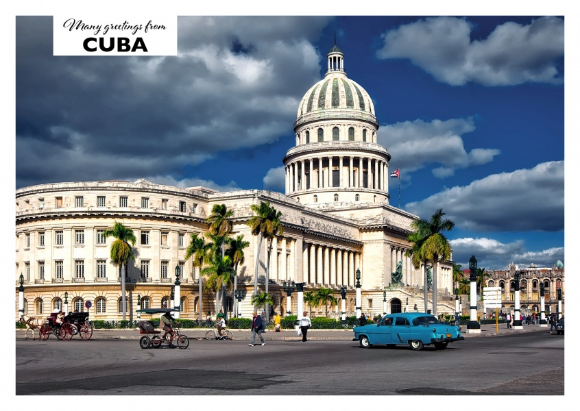 Postcard from Cuba with photo of the capitol in Havana