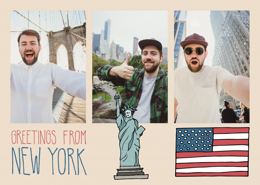 template with illustrations from New York