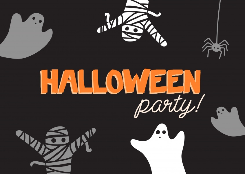 Black card with ghosts. Halloween party!