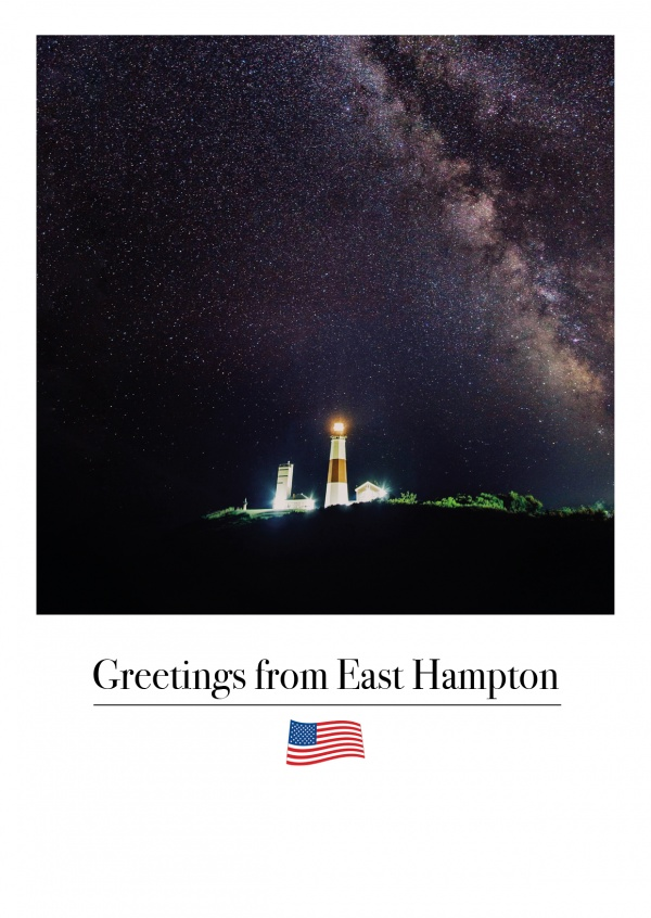 East Hampton lighthouse by night