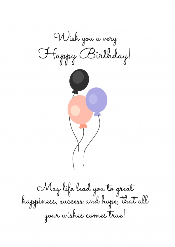 card with birthdaywishes and balloons